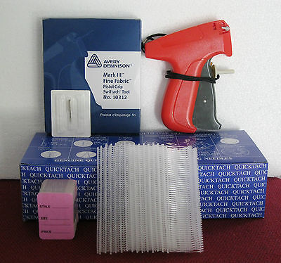 10312 Avery Dennison Fine Fabric Tagging Gun 5000 1 Clear Barbs 100 Price Tag