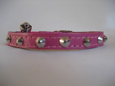 GENUINE LEATHER BRIGHT PINK SMALL STUDDED CAT COLLAR