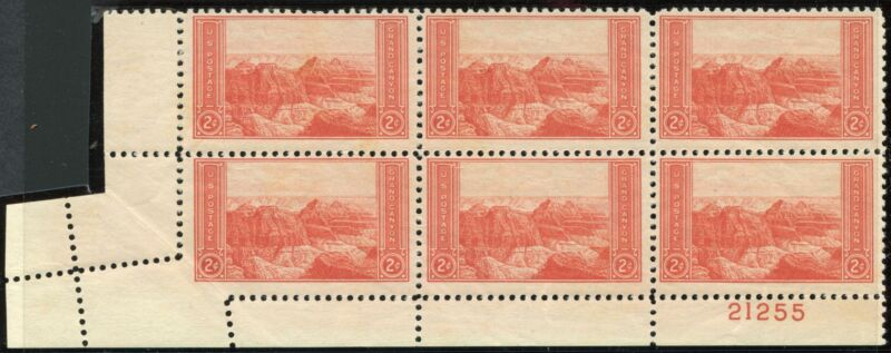 "#741 Var. ""grand Canyon"" Mint Plate Blk/6 With Foldover Error Bp1602"