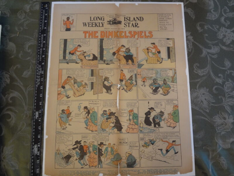 1915 Racist Stereotype Negro Black Long Island Greenpoint Newspaper Comic Strip