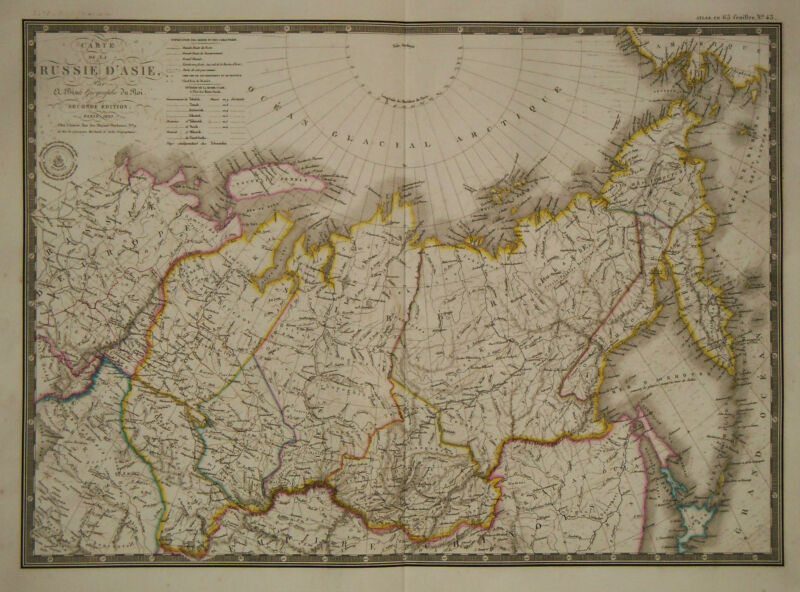 1830 Genuine Antique hand colored map of Russia in Asia. A.H. Brue