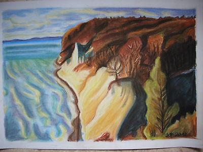 Bild Pastellkreide Druck A4 Kreidefelsen Rügen Meer