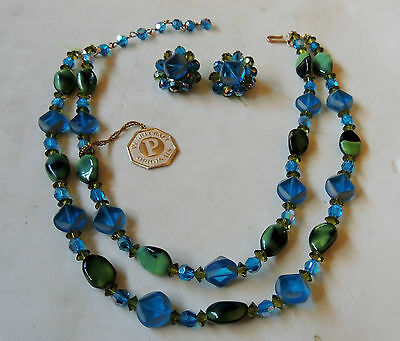 VINTAGE PEARCRAFT SET necklace & earrings green/blue The Paris Salt Lake City - Costumes Salt Lake City
