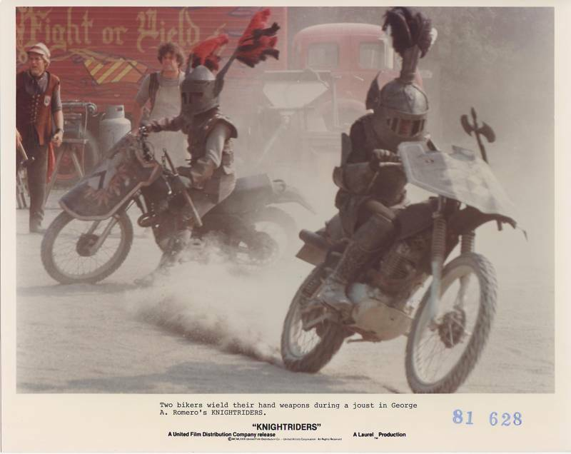 KNIGHTRIDERS orig movie photo MOTORCYCLE GANG JOUSTING 1981 publicity still
