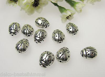 10 Metallperlen Marienkäfer in silber 1,1 cm, Perlen basteln, Schmuck herstellen