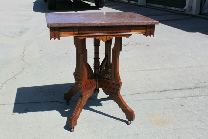 Walnut Victorian Aesthetic Period Marble Top Parlor Table ~Ca.1880