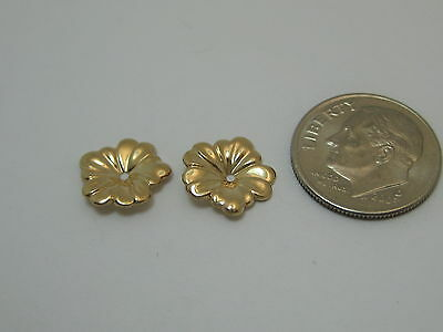 Solid 14k Yellow Gold Small Flower Earring Jackets S207 Made In USA