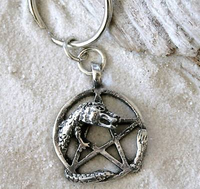 PENTAGRAM DRAGON PENTACLE Pewter KEYCHAIN Key Ring