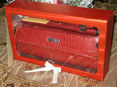 """CHI Soft Touch Ruby Red 1"""" Straightening Iron w/ FREE Satin Clutch. GF1130. New"""