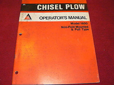 Allis Chalmers Model 1600 Chisel Plow Operators Manual