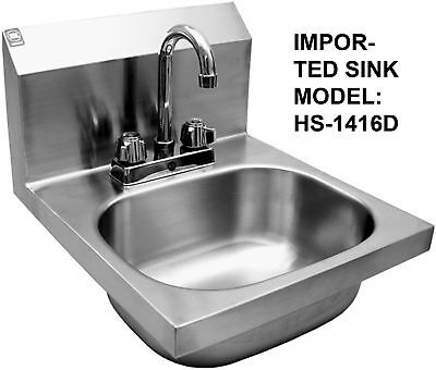 Wash Hand Sink Stainless Steel With Deck Faucet Hs1416d
