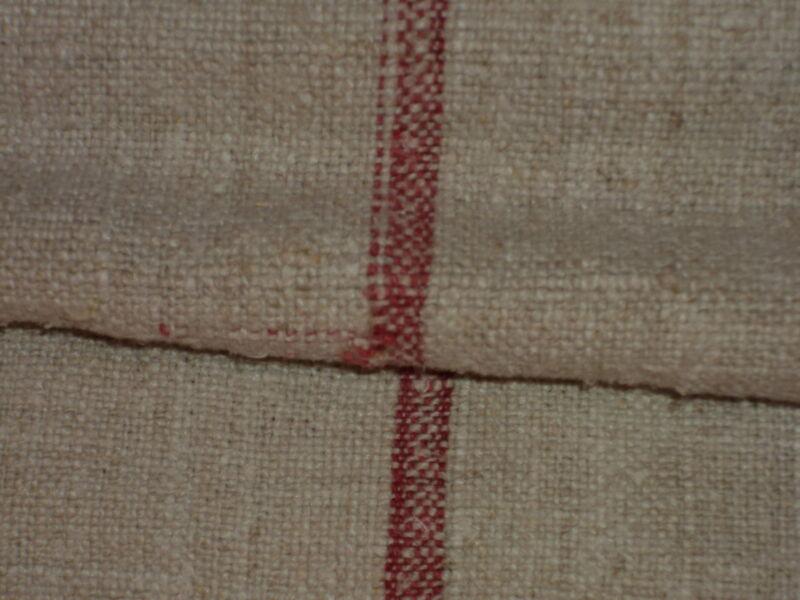 Antique European Feed Sack GRAIN SACK  Red Stripes # 2644