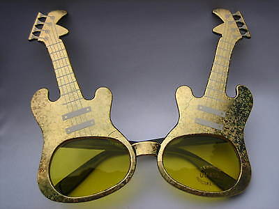 GOLDEN GUITAR MAN PARTY SUNGLASSES / GLASSES #PG 9004 - Guitar Sunglasses