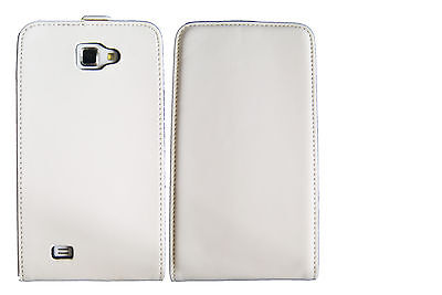 Extra Fine White Leather Flip Case Cover Pouch Samsung Galaxy Note N7000 (Samsung Galaxy Note Gt N7000 Flip Cover)