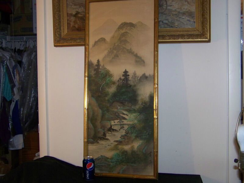 """""""OLD"""" Chinese Original Mixed Media on Silk Painting Large Panel - Signed/Stamped"""