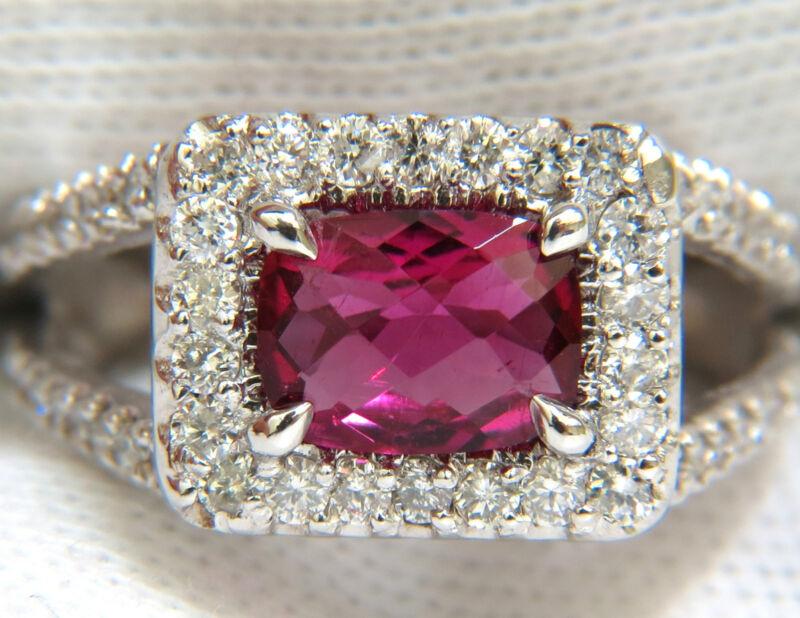 █$6,600 2.73ct Natural Bright Pink Tourmaline Diamond Ring Split Shank 14kt █
