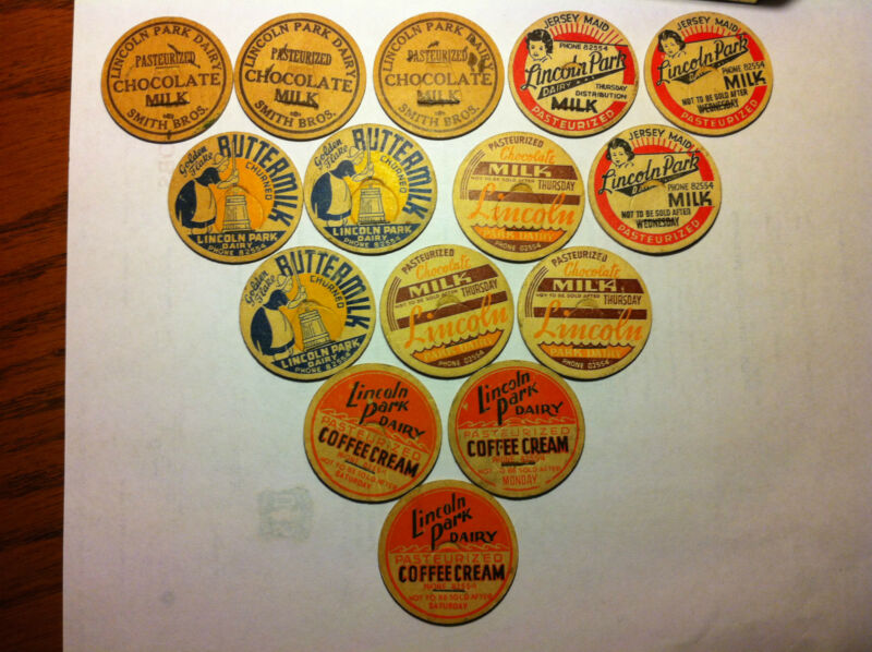 Vintage EXTREMLY RARE milk bottle caps/pogs 1950-1962 lincoln park dairy