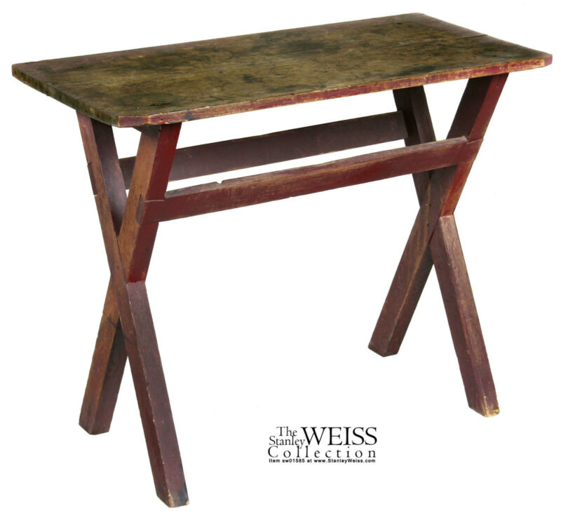 SWC-Sawbuck Side Table, Old Red Paint, c.1790/1810