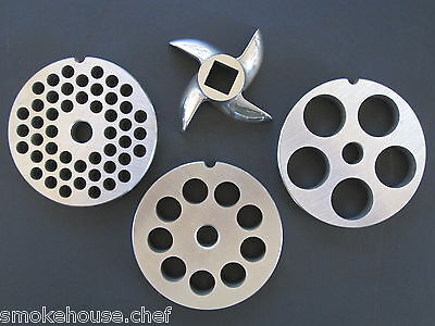 12 Meat Grinder Disc Plate Set And Knife For Hobart Lem Cabelas And Most Others