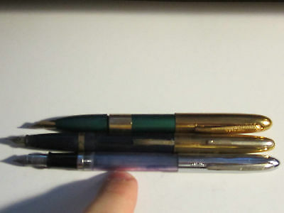 3 VINTAGE FOUNTAIN PENS: SHAEFFER & 2 UNKNOWN BRANDS - UNKNOWN WORKING CONDIT. ?