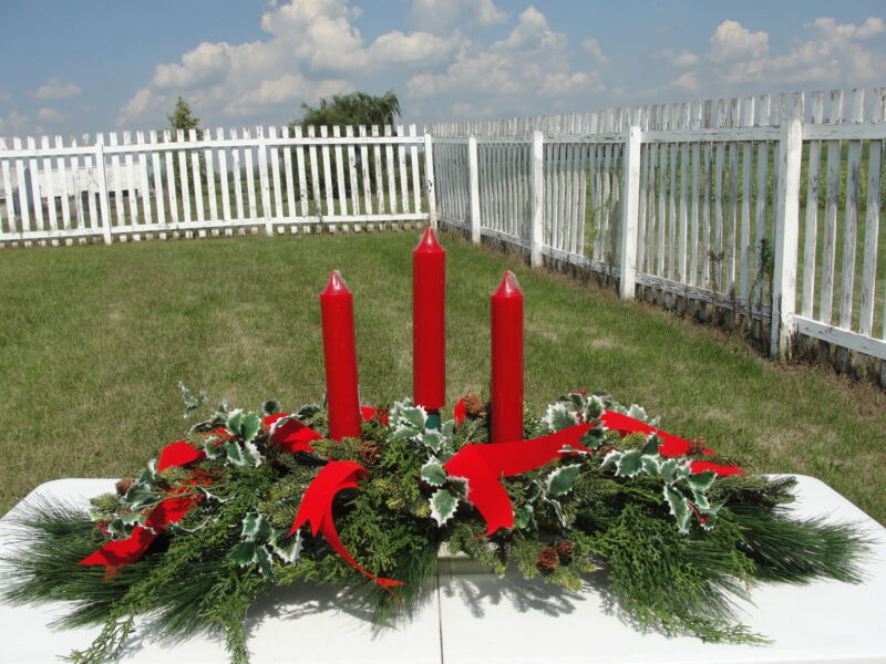 Holiday Christmas Candle Centerpiece Pine Holly Berry Red Ribbon Orders for Nov