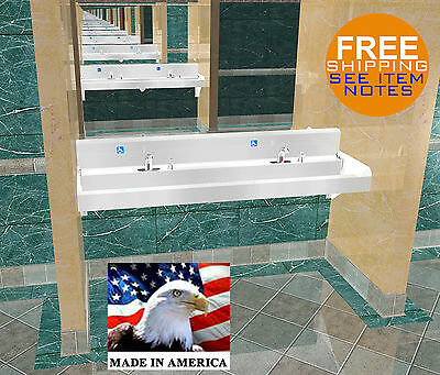 Ada Multi Station 2 Users Hand Wash Sink Electronic Faucet 72 Stainless Steel