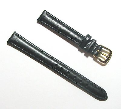 New 12mm Leather Watch Band - Plain Black with Gold Tone Buckle Size -