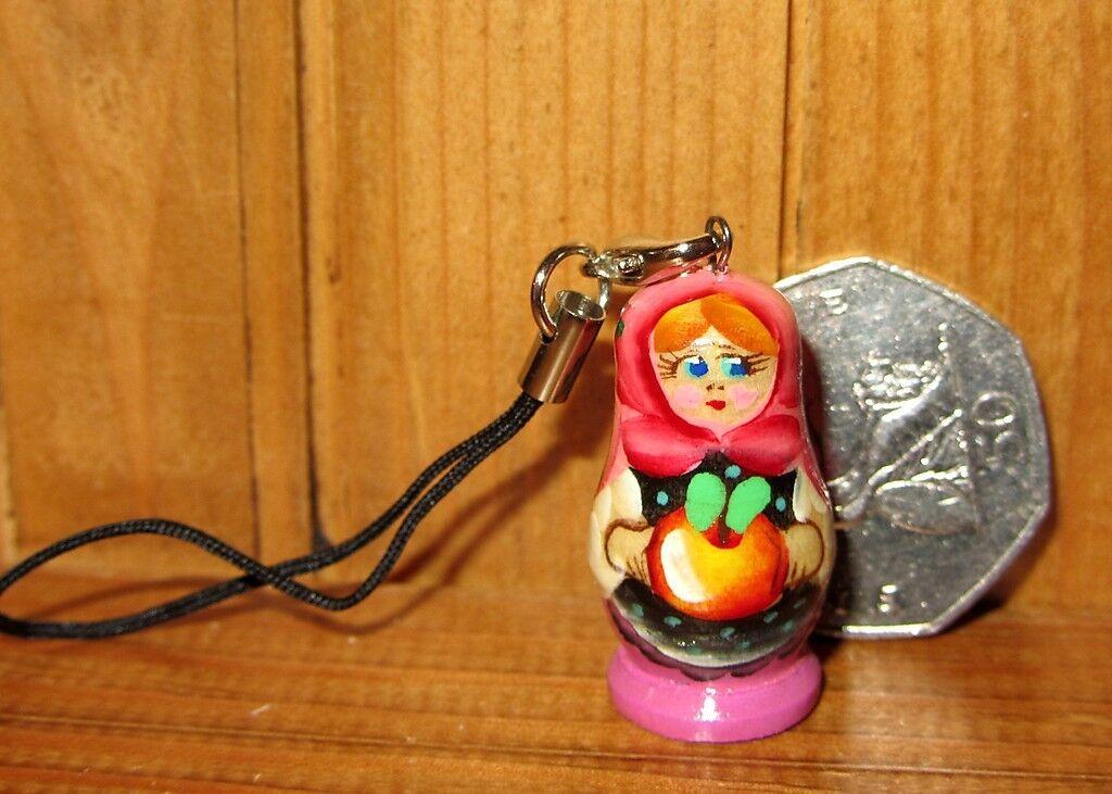 RUSSIAN DOLL Mobile Phone Handbag Charm hand painted Gift Bag Stocking filler