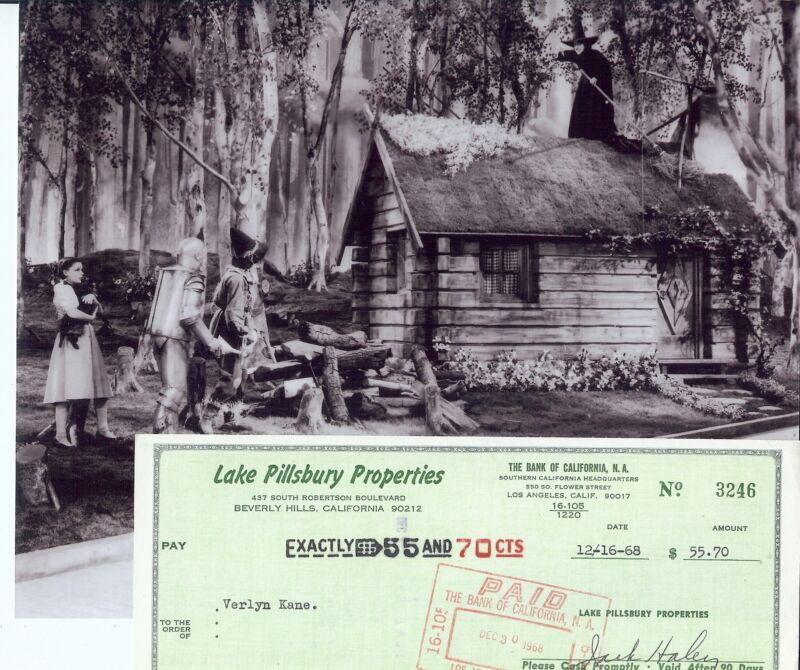 Wizard Of Oz Autographed Package Tin Man Jack Haley signed check & US Photo
