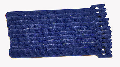 Blue 10 Pack 6 6in Reusable Hook Loop Cable Tie For Guitar Mic Speaker Cable