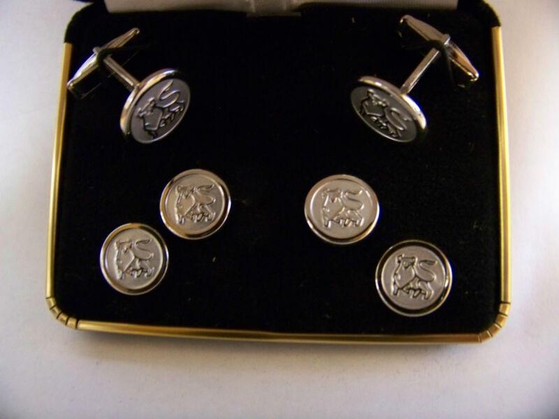 Set of MERRILL LYNCH BULL Cufflinks & Button Pins Silver-tone