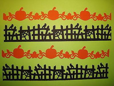 10 HALLOWEEN BLACK & ORANGE PUMPKIN & SCARY FENCE BORDER DIE CUTS PUNCHES CARDS - Orange Halloween Punch