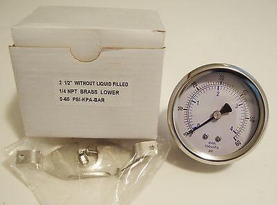 New Pressure Gauge 2 12 0-60 Psi-kpa-bar 14 Npt