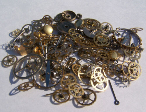 Vintage antique Steampunk Watch Parts Pieces gears cogs wheels 150+ Lot 10g