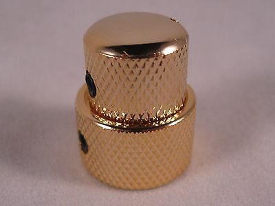 QUALITY KB-2 GOLD Volume Tone Concentric Stacked Control Knob Guitar Bass MIK