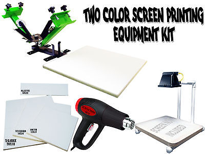 Silk Screen Printing Press 2 Color1station Heat Gun Exposure Unit Equipment