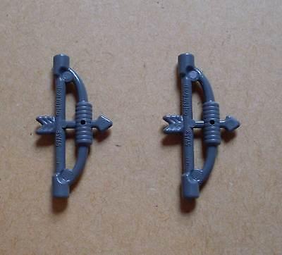 2 Lego Bogen ( Bögen Pfeile ) grau Ritter Pfeil und Bogen Waffen Neu ()