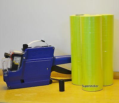 Mx-6600 10 Digits 2 Lines Price Tag Gun Labeler 1 Ink 42 Rolls Yellow 500 Tag