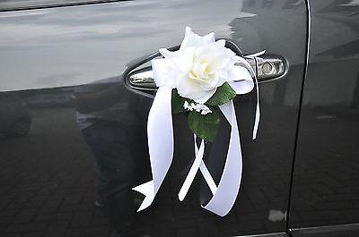 Hochzeitsdeko für Brautauto,  Autoschmuck weiße,rote Rose!!!