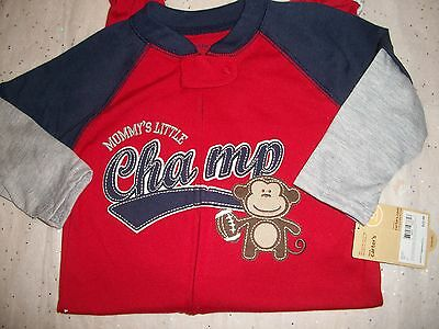 CARTER'S 1 PIECE FOOTED SLEEPWEAR PAJAMAS BABY BOYS MOMMY'S LITTLE CHAMP MONKEY
