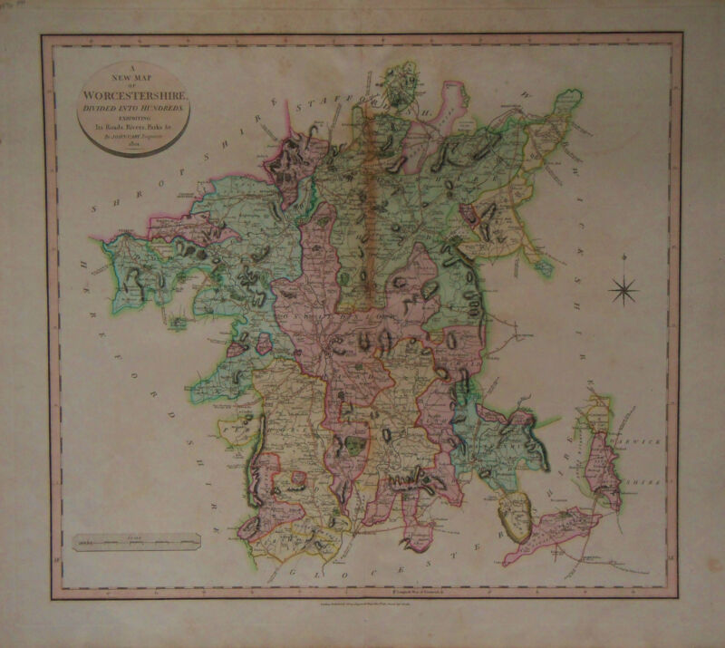 1801 Genuine Antique hand colored map of Worcestershire, England. John Cary