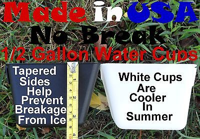 Cage Cups 6 Black & 6 White 1/2Gal Large Hanging Water Cups Gamefowl Chicken