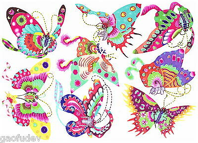 Handmade Paper Piecing Art (Handmade Chinese Paper Cuts 8 Flying Butterfly Set 8 Small Colorful Pieces )