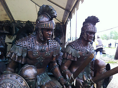 "52""H PAIR OF BRONZE SPARTAN ROMAN WARRIORS SCULPTURE TROJAN SOLDIER W/SWORD"