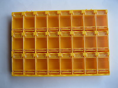2 Pcs Smd Smt Electronic Component Mini Storage Box 24 Blocks Grid Orange T156