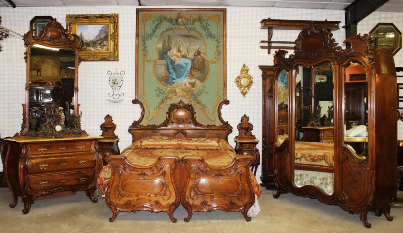 Antique Carved Walnut Italian Five Piece Bedroom Suite  Painted Headboard C1870