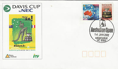 Australia 45C Davis Cup Personalized Stamp On 2002 Illustrated Souvenir Cover