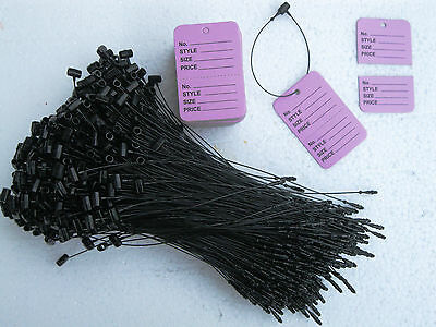 100 Merchandise Unstrung Perforated Price Tags 500 5  Black Loop Locks