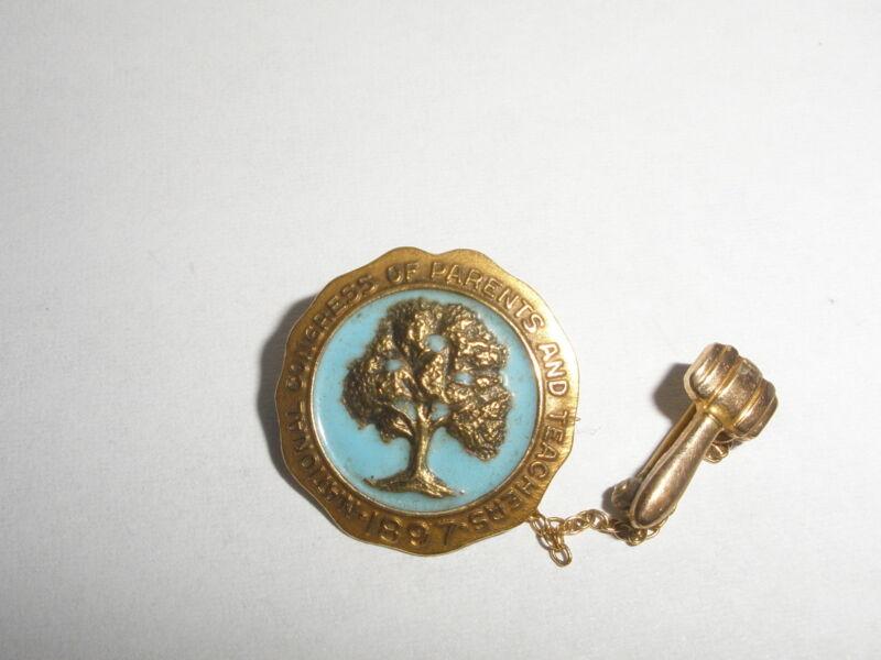 TWO Vintage 10K Gold Enamel National Congress Parents Teacher PTA Lapel Pin 1897