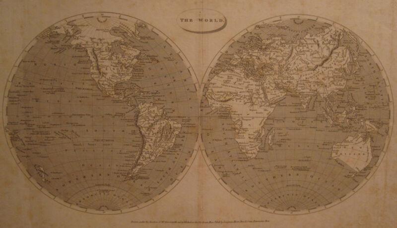 1806 ANTIQUE ARROWSMITH WORLD MAP ENGRAVING DOUBLE HEMISPHERE CALIFORNIA LA NM